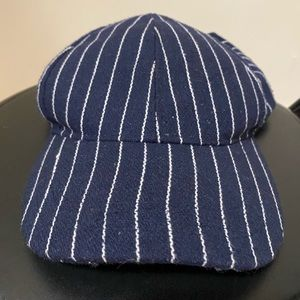 Blue and White Striped Baseball Hat